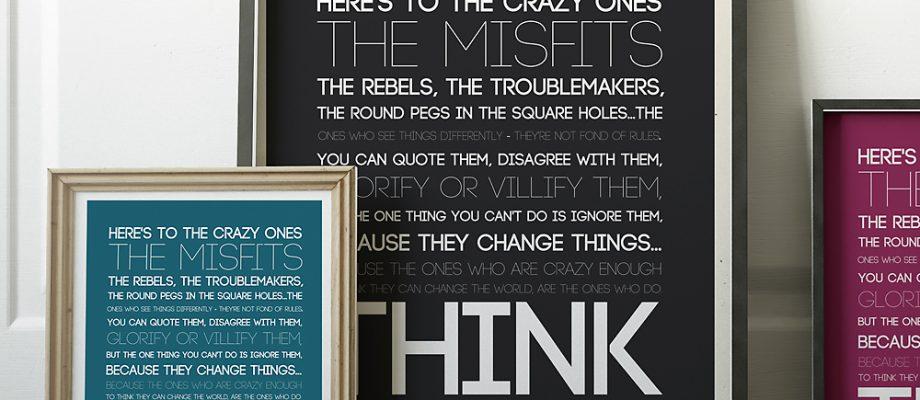 "Steve Jobs ""crazy ones"" quote | free art print"