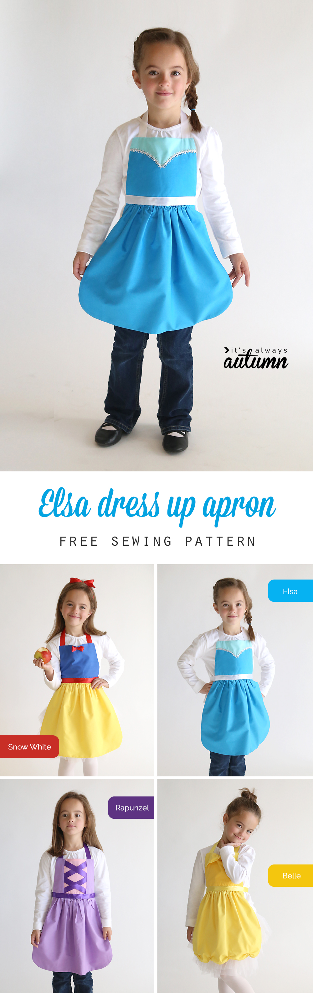 So adorable! Get the free PDF sewing pattern for this easy to make Elsa (Frozen) princess dress up apron in sizes 2-8 to fit any little girl! Easy DIY Snow White costume or dress up. Great handmade Christmas gift idea. More princess dress up apron patterns on this site too!