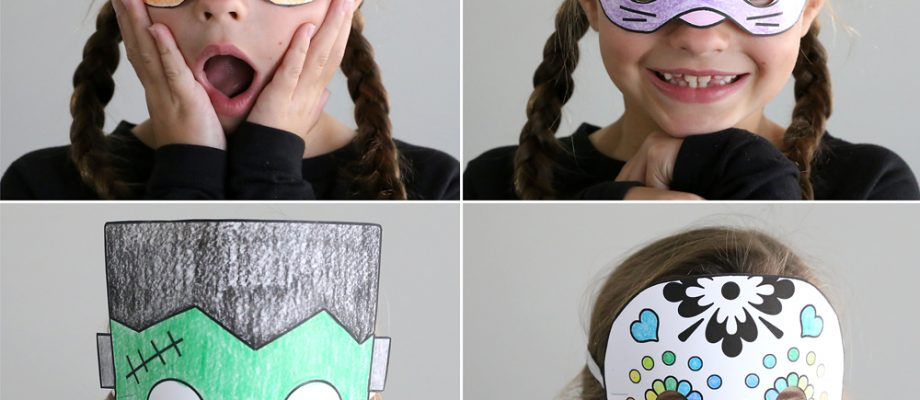 Print + color Halloween masks are an easy and expensive Halloween craft for kids. These are a great activity for a class Halloween party!