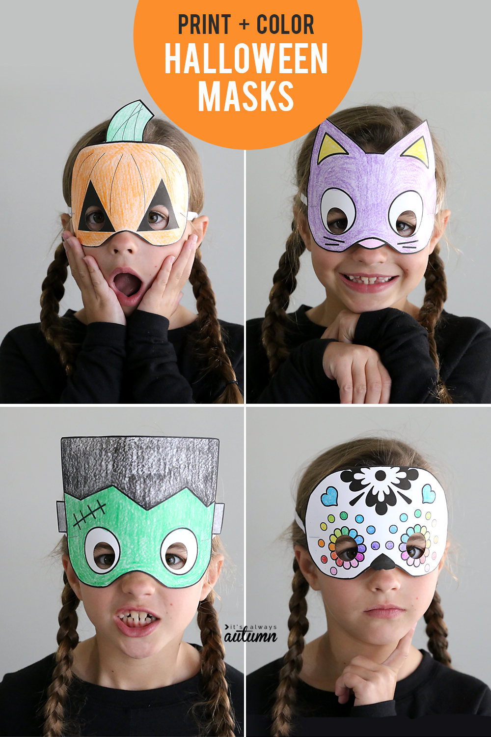 print color halloween masks are an easy and expensive halloween craft for kids these