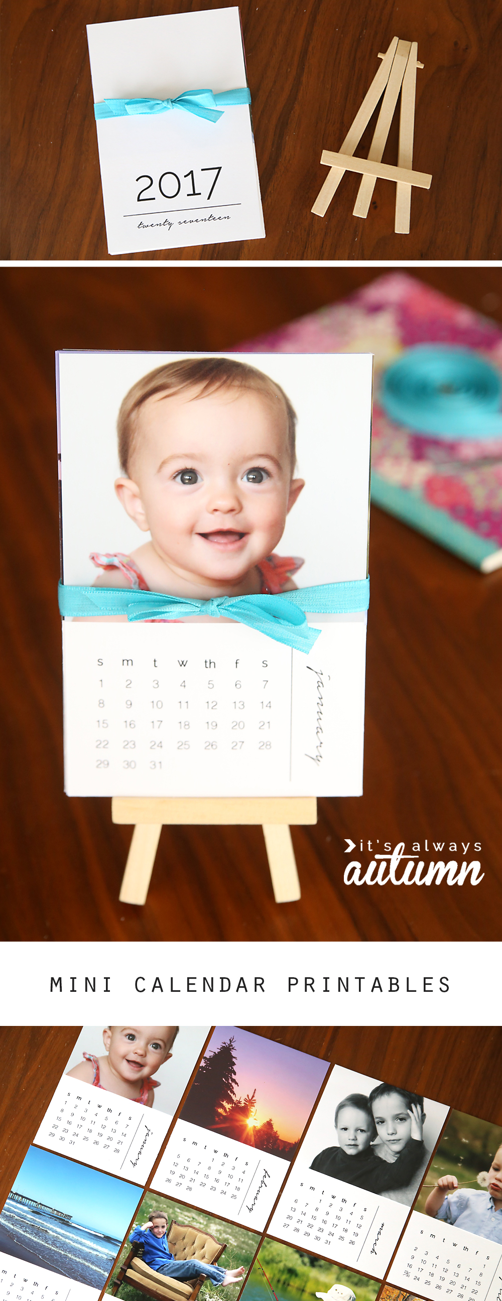 Diy Calendar With Pictures : Diy mini photo calendar w free printables it s always autumn