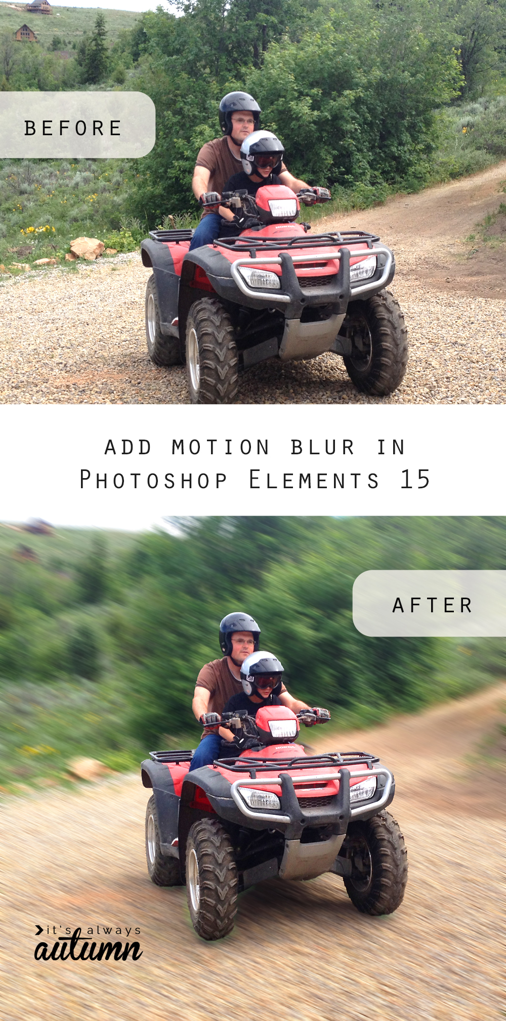 This is so cool! Add a motion blur to your photos in just a few clicks with Photoshop Elements 15 easy guided edit. Photo editing.