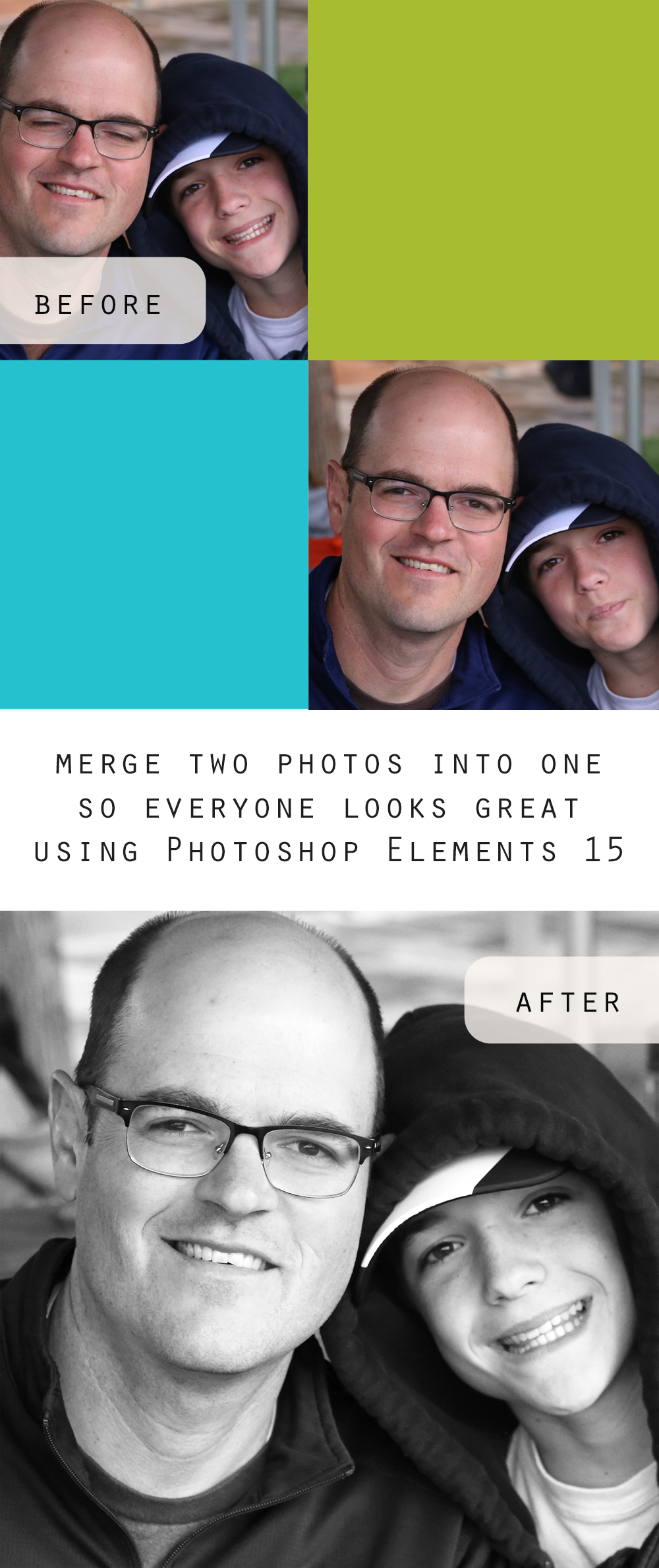 You won't believe how easy it is to merge two photos into one to make sure everyone looks great using Photoshop Elements 15!
