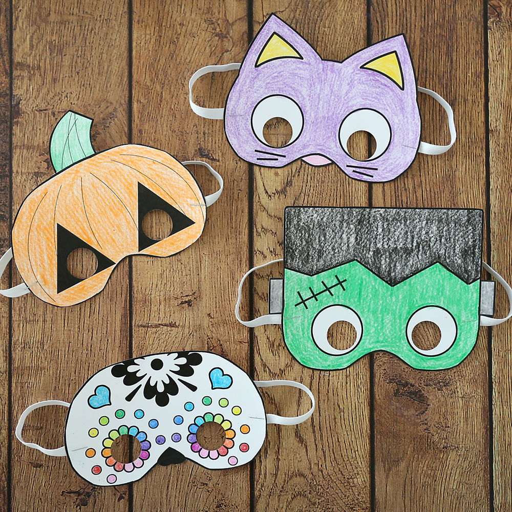 photograph relating to Halloween Craft Printable known as Halloween masks towards print and colour - Its Constantly Autumn