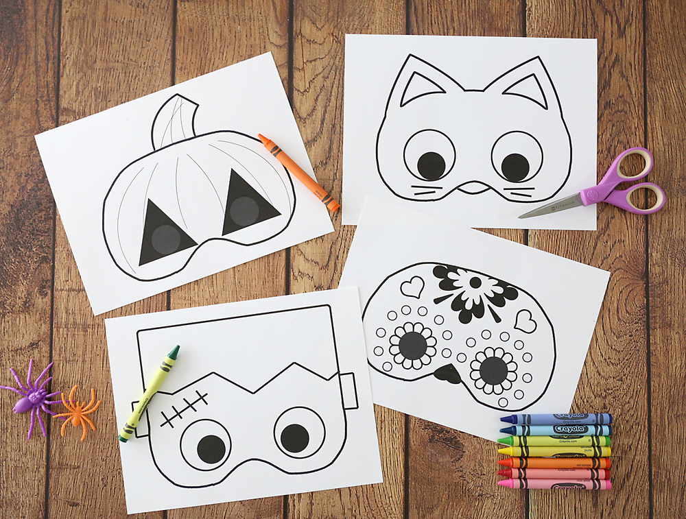 photograph about Halloween Craft Printable named Halloween masks in the direction of print and colour - Its Constantly Autumn