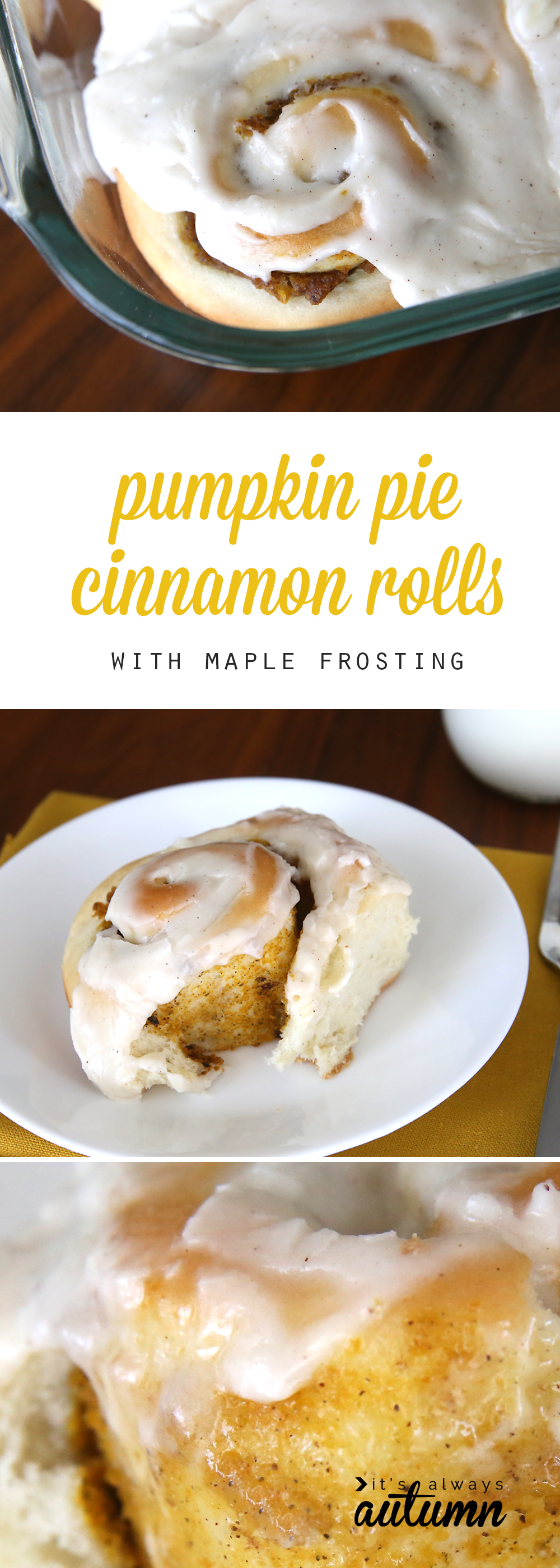 These pumpkin pie cinnamon rolls with maple cream cheese frosting are ...