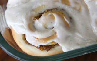 These pumpkin pie cinnamon rolls with maple cream cheese frosting are incredible! This easy recipe is the perfect fall or holiday dessert or breakfast.