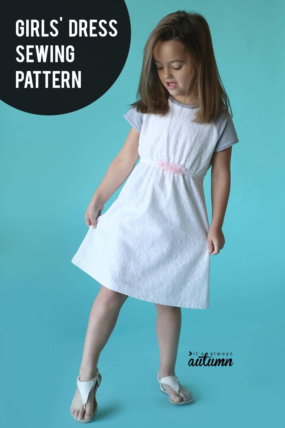 Click through for the free sewing pattern for this cute girls' dress.