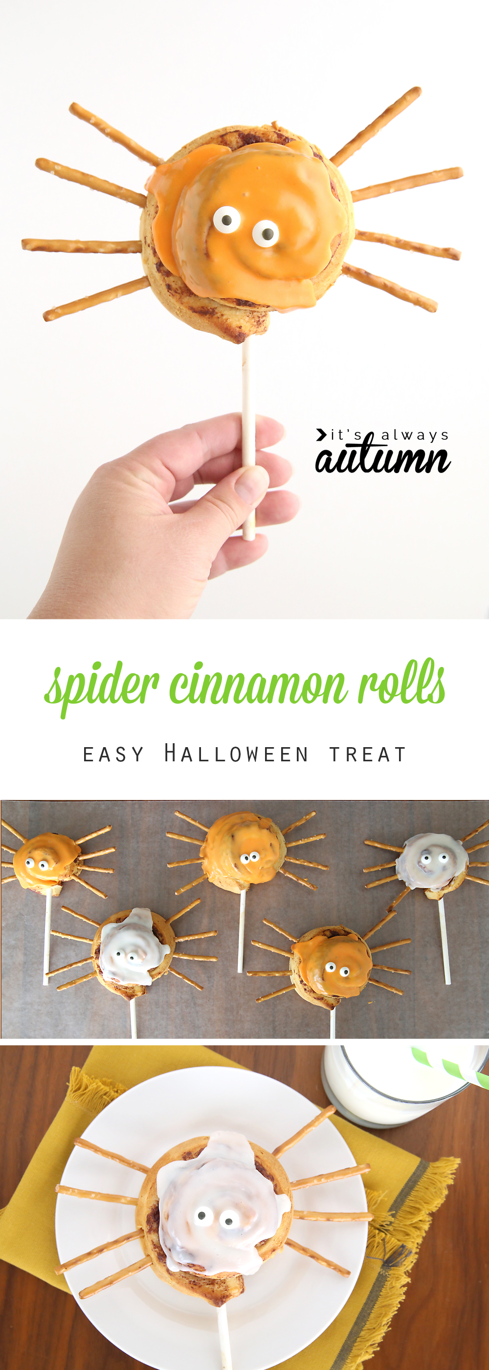 What a fun idea for a Halloween treat! Easy spider cinnamon roll pops. Cute Halloween breakfast idea to make with the kids.
