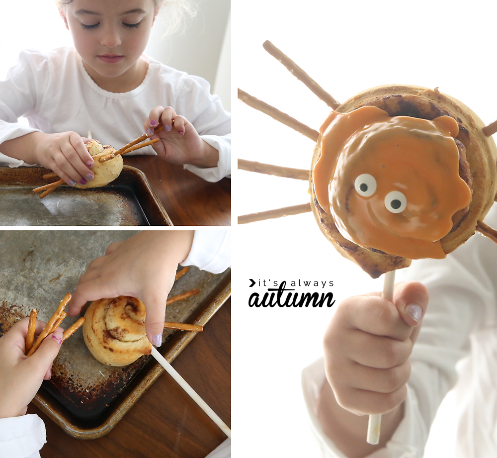 What a fun idea for a Halloween treat! Easy spider cinnamon roll pops. Cute Halloween breakfast idea to make with the kids