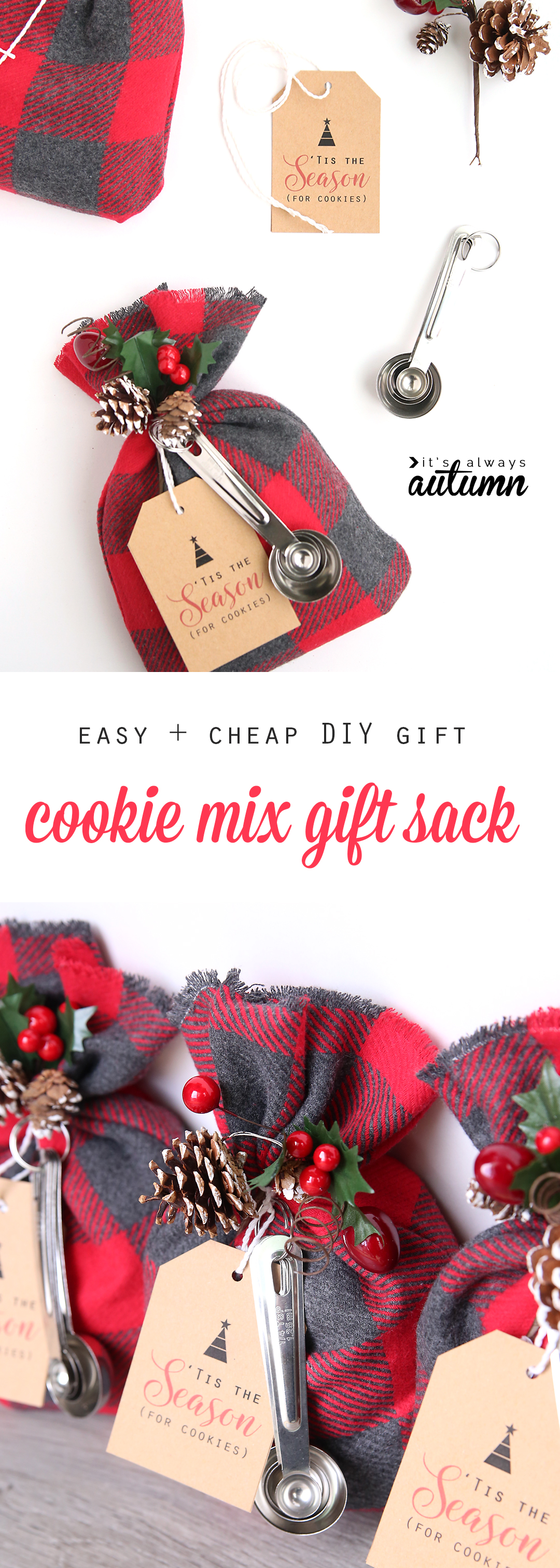 cookie mix gift sack | easy DIY Christmas gift idea - It\'s Always Autumn