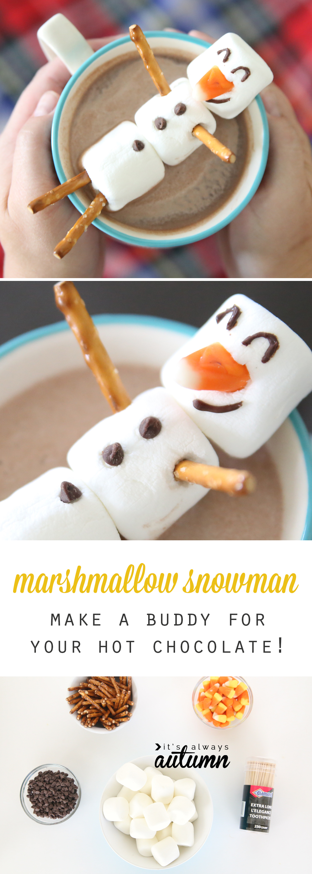 Marshmallow snowman make a hot chocolate buddy it 39 s for How to make winter crafts