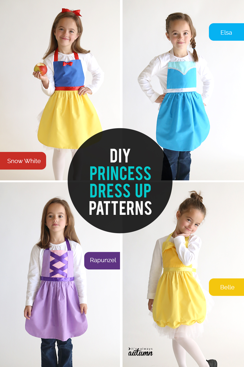 These princess dress ups are so easy to make! Click through for the free pattern in three different sizes plus a video tutorial sewing you how to sew them up.