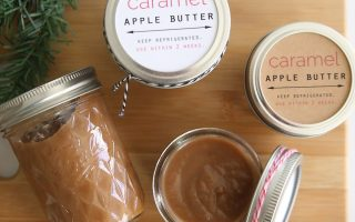 This recipe for caramel apple butter is easy to make in the crockpot and tastes amazing! Wonderful DIY Christmas gift idea. Comes with free labels for the jars. Slow cooker recipe.