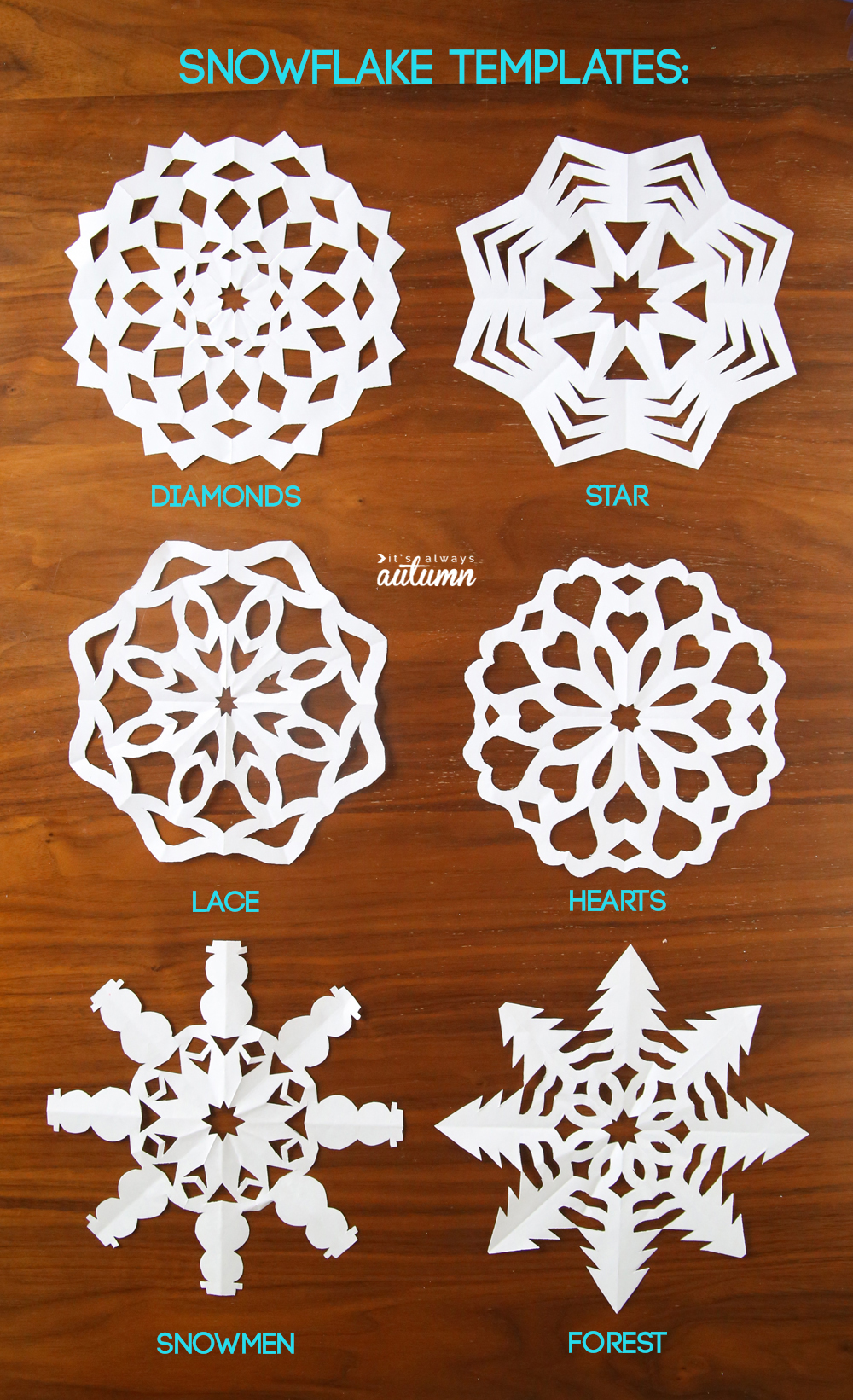 How to make paper snowflakes! Click through to print out the paper snowflake patterns.