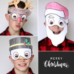 kids' holiday masks to print and color