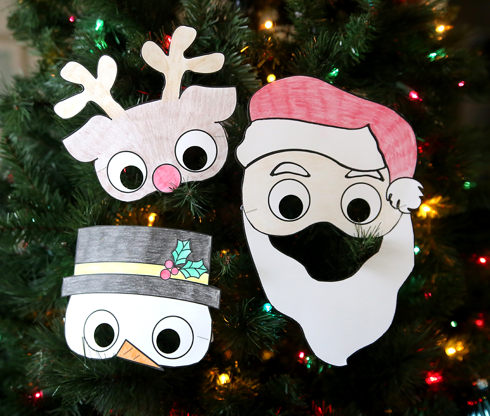 Printable Holiday Masks For Kids To Color Easy And Cheap Christmas Craft