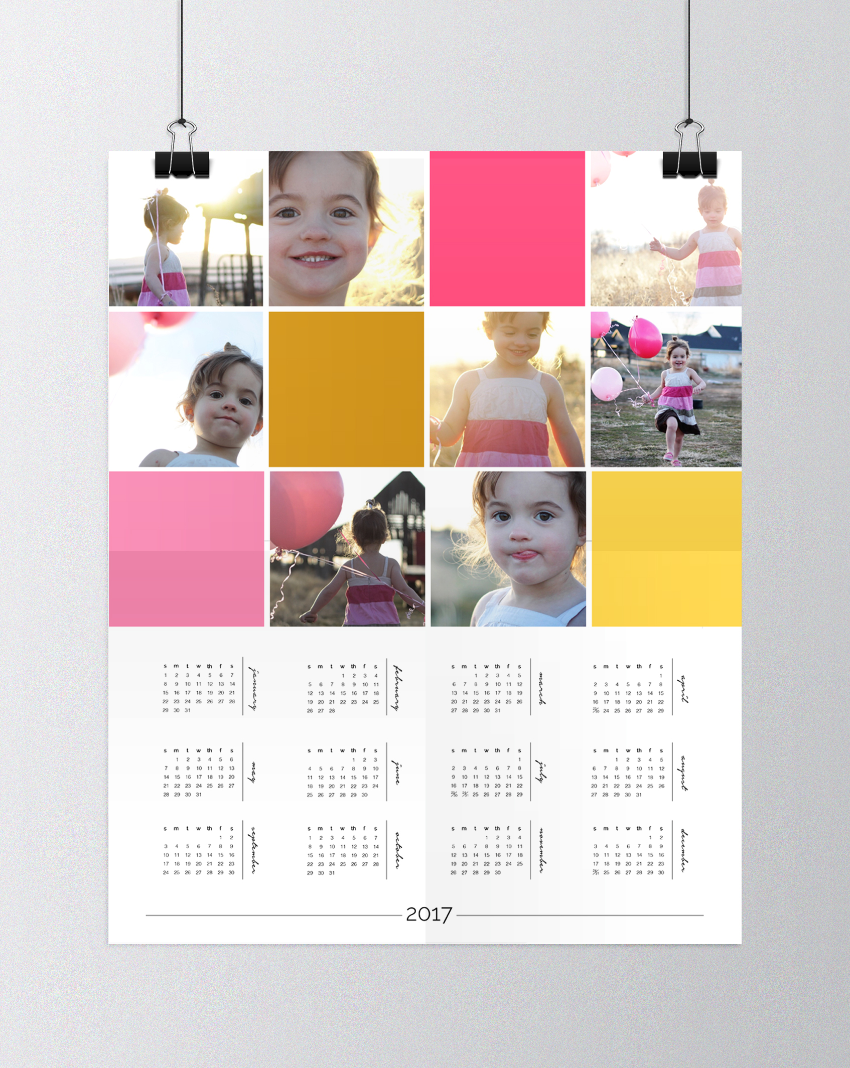 Beautiful! I love this personalized photo wall calendar. Click through for the free template and a video tutorial. Easy, inexpensive DIY gift!