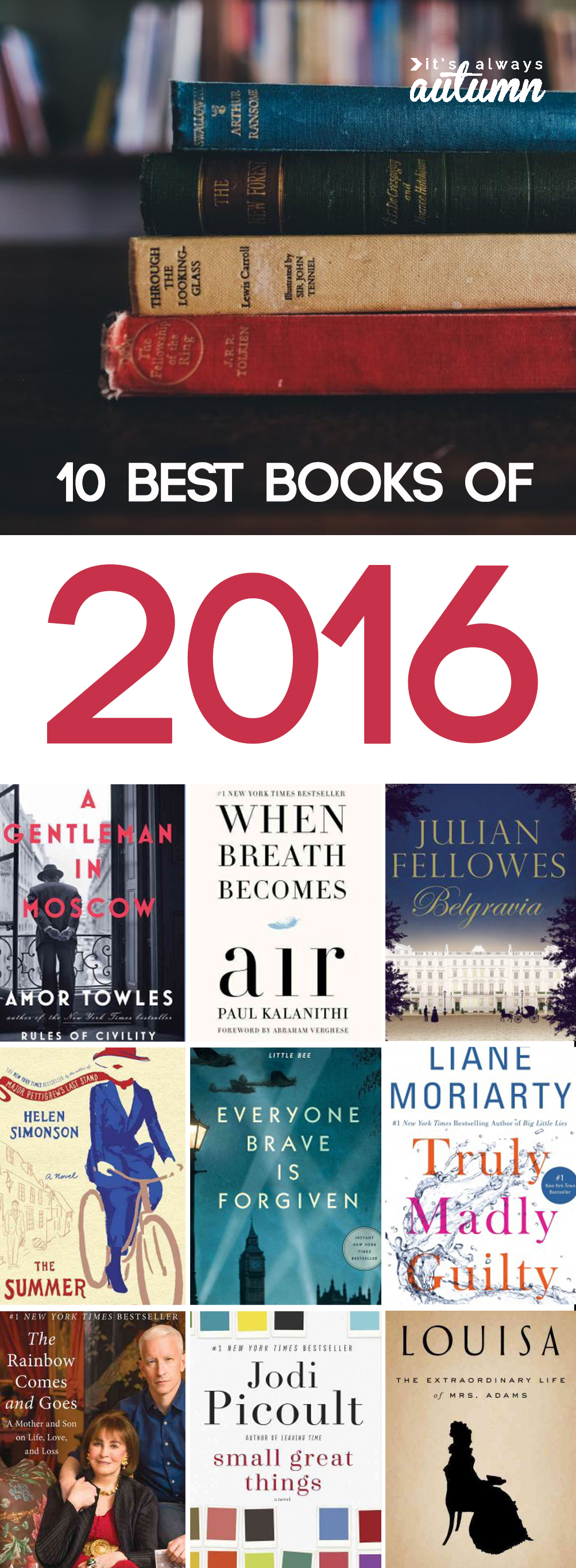 10 best books of 2016! Ten books not to miss from this past year. Great book list and gift ideas.