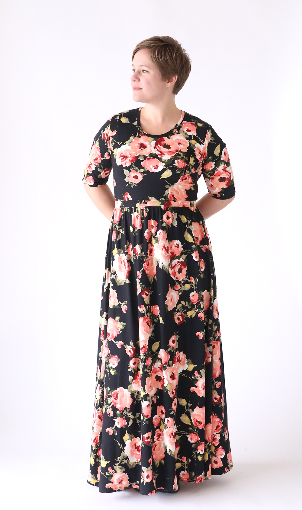 24009d577b0c how to make a pretty maxi dress using a free classic tee shirt pattern -  easy
