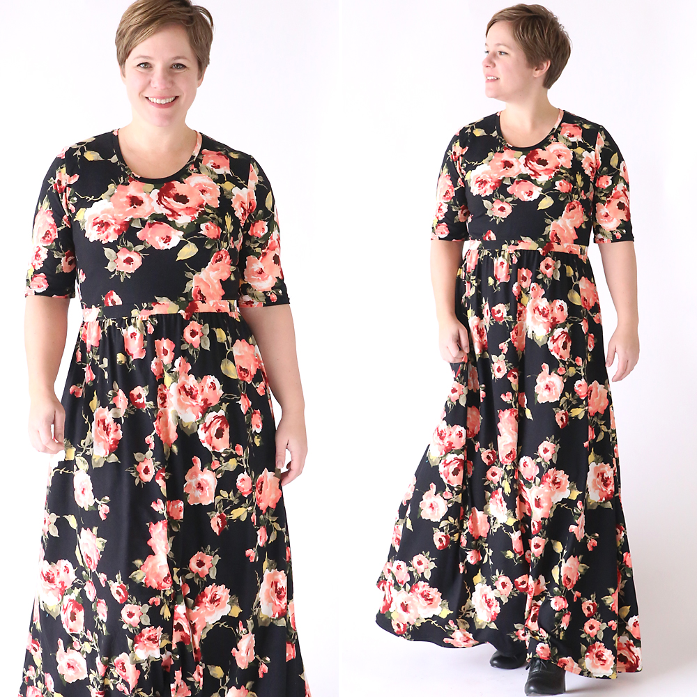 How to Make a Gorgeous Maxi Dress from a t-shirt pattern