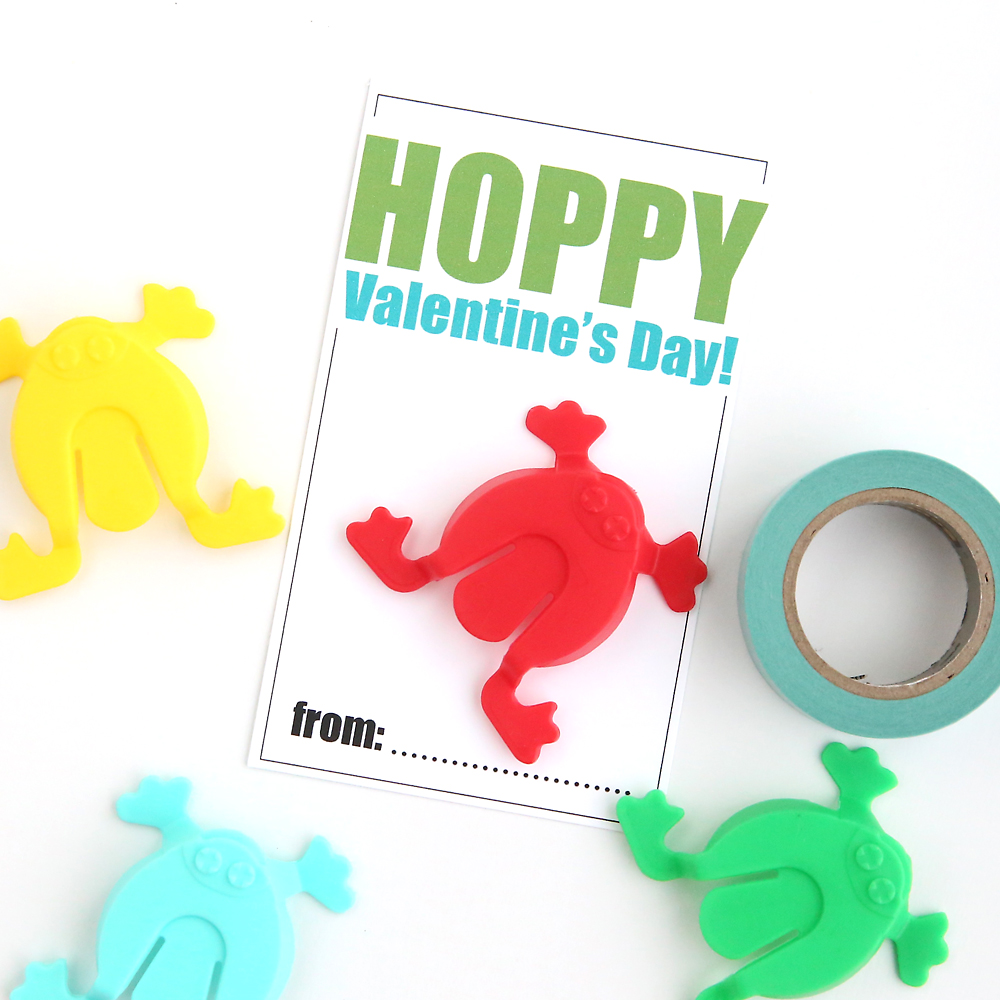 hopping frogs free printable Valentine's Day cards