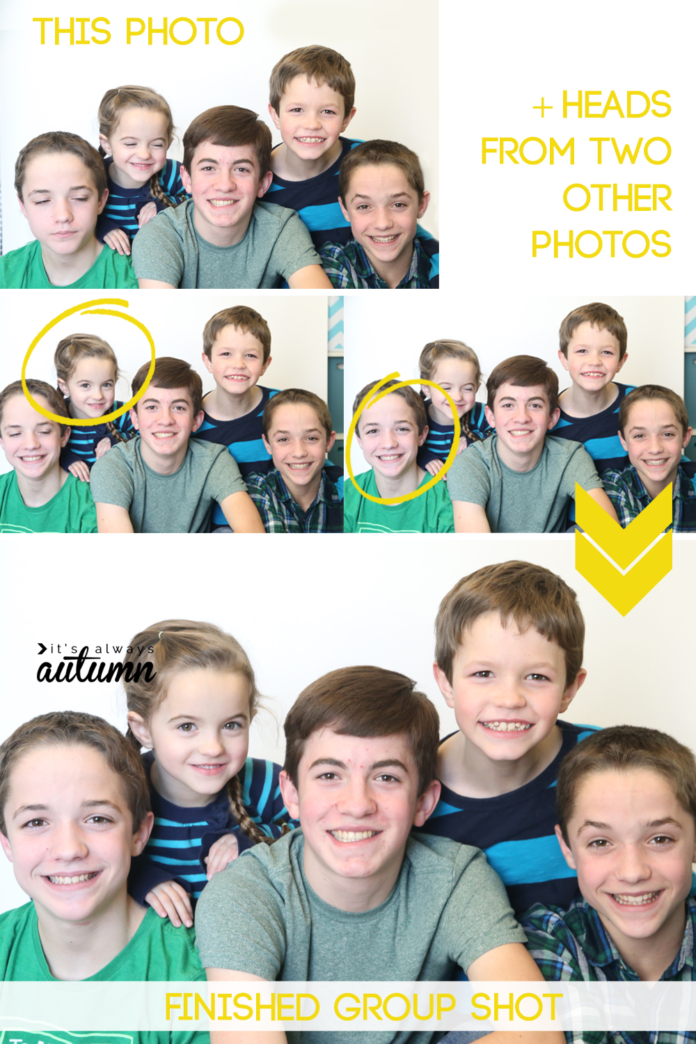 This is awesome! How to swap heads so you can get a great group photo. Perfect for when people close their eyes or kids aren't all looking at the camera at the same time. And it only takes 30 seconds! Easy photo editing.