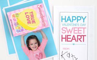 DIY conversation hearts Valentine's Day photo card