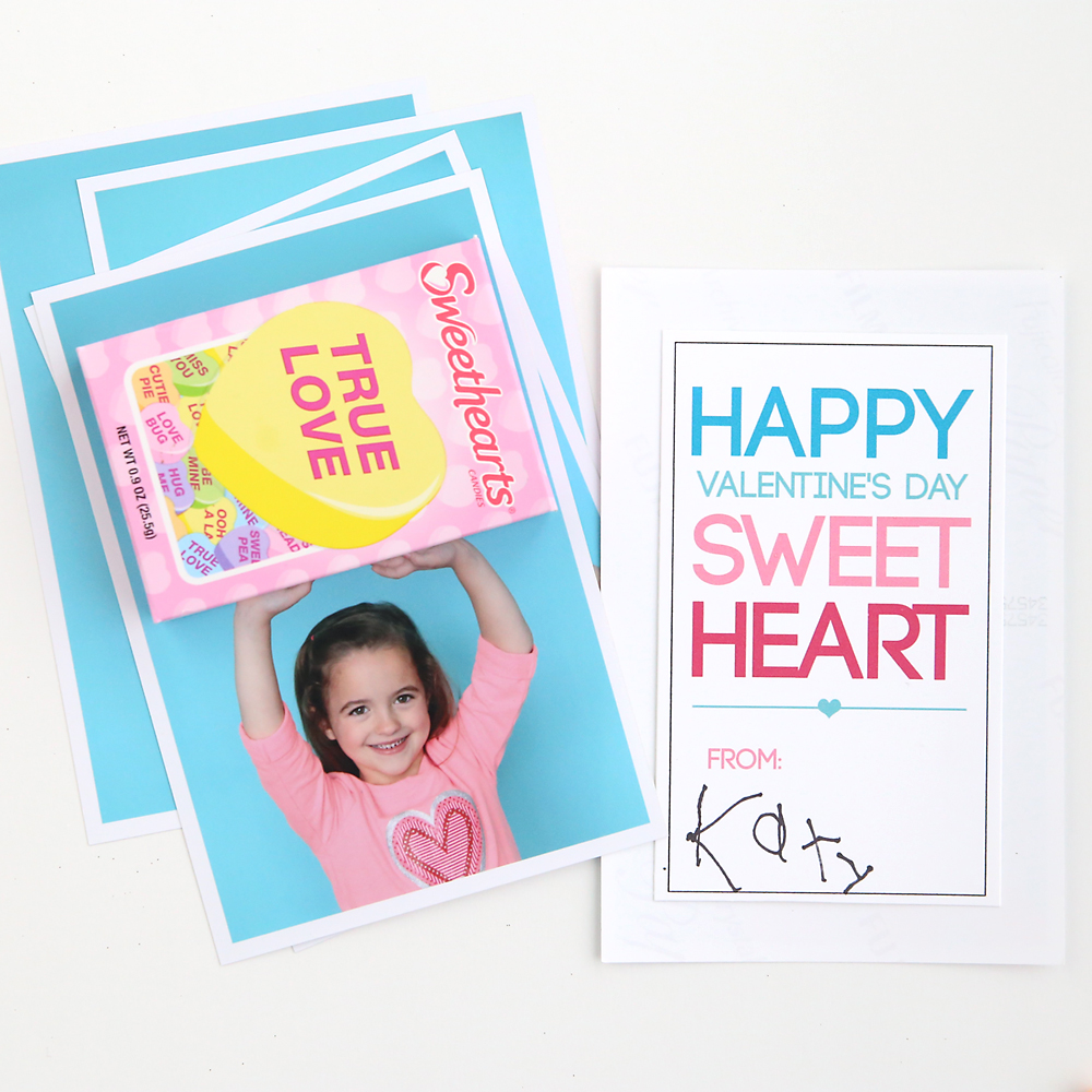 DIY conversation hearts Valentine's Day photo card