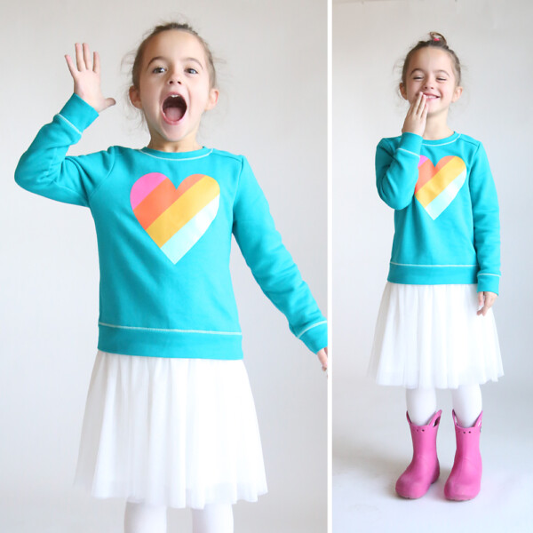 Photo of a girl wearing a dress made by sewing a tulle skirt onto a purchased sweatshirt