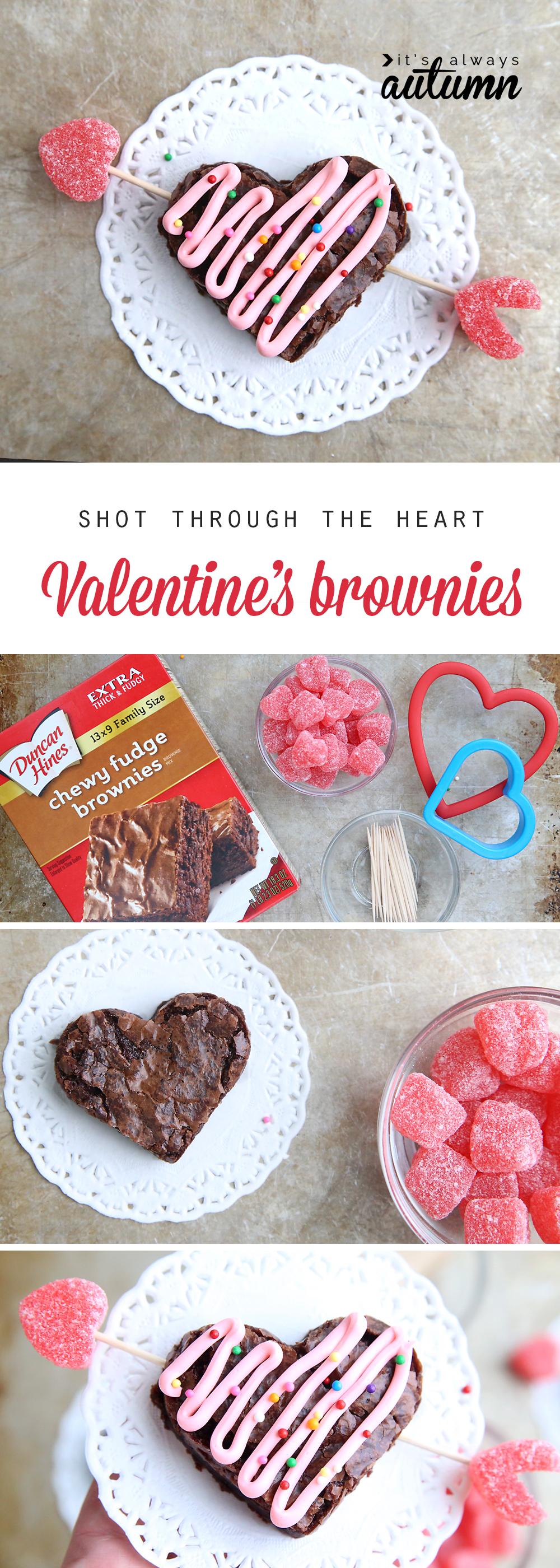 Valentine Brownie: Shot Through The Heart (shaped) Valentine's Brownies