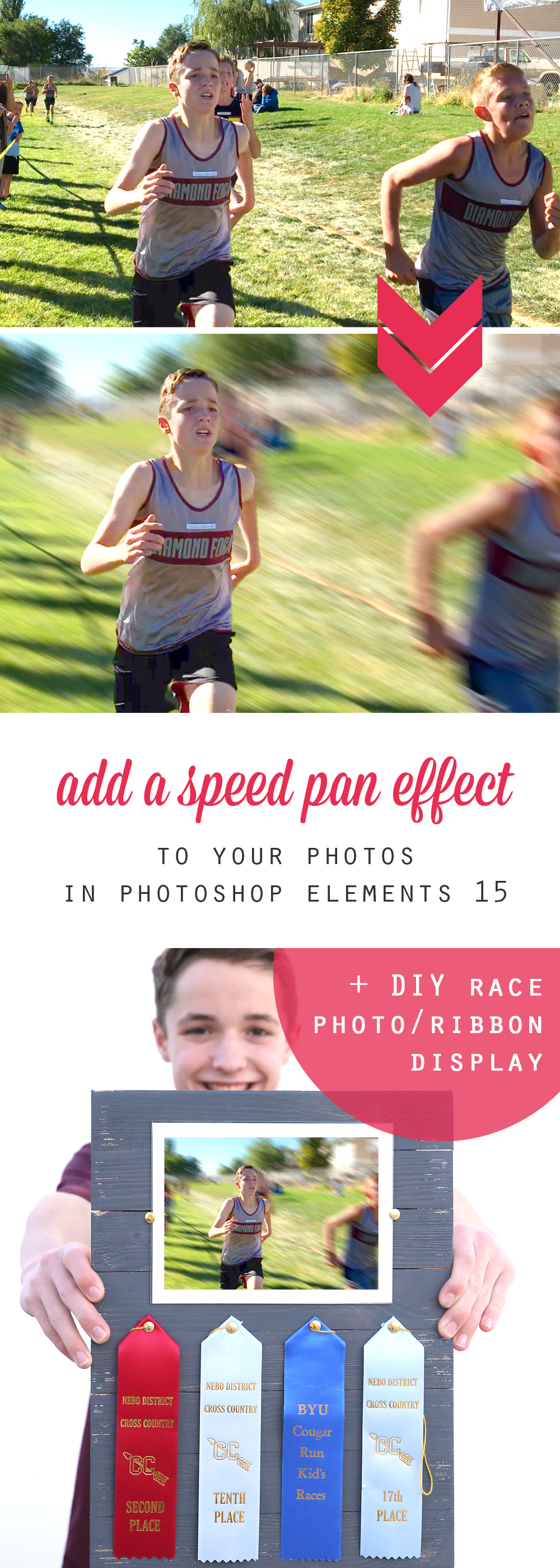 Learn how to pump up the action in your photo by adding a speed pan effect in Photoshop Elements 15. Then make this easy DIY race photo and ribbon display.