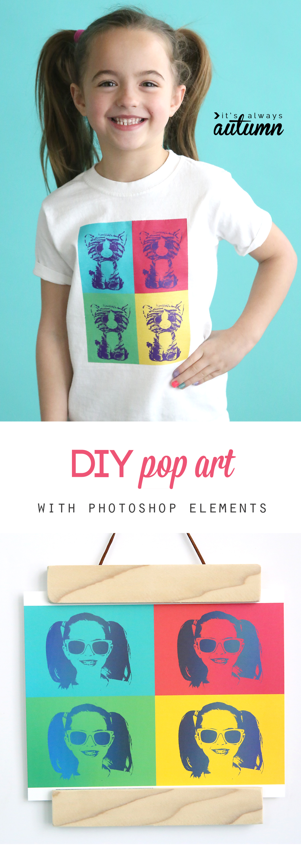 This is cool! Turn one of your photos into pop art in just a few clicks using Photoshop Elements. Makes a cute t-shirt!