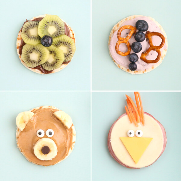 Collage of snacks made to look like a flower, a butterfly, a bear, and a chick