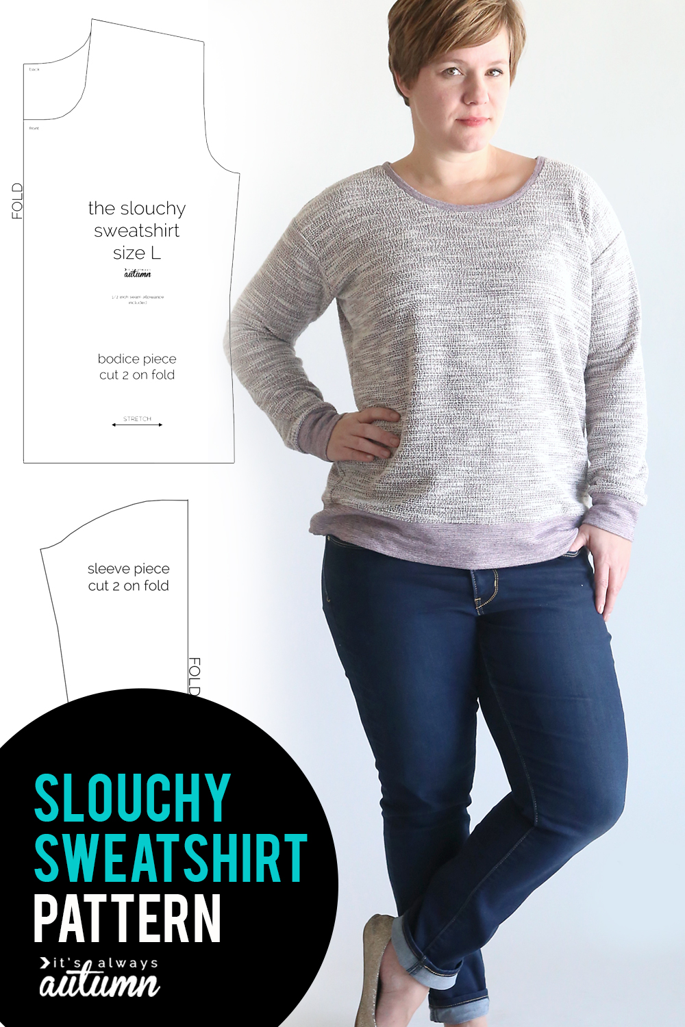 Easy to sew slouchy sweatshirt pattern. Click through for the free pattern and sewing tutorial.