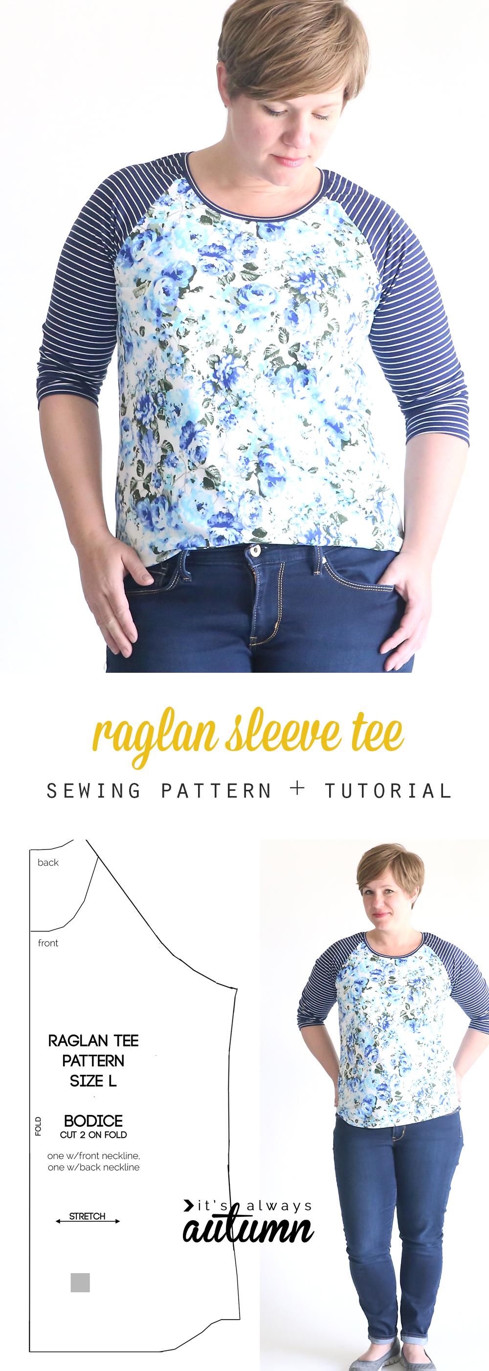 free raglan tee shirt sewing pattern women 39 s size large it 39 s always autumn. Black Bedroom Furniture Sets. Home Design Ideas