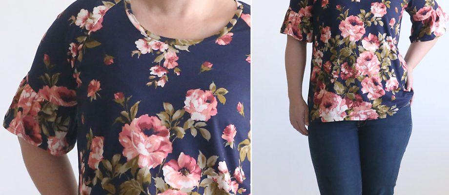 pretty ruffle sleeve raglan tee sewing tutorial