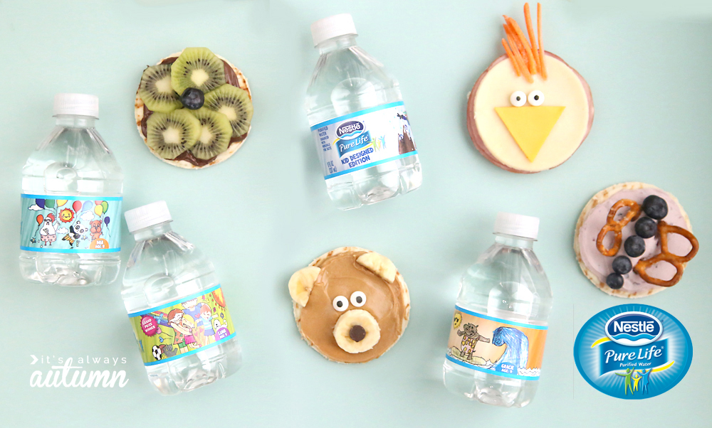 these adorable silly snacks for kids are healthy and easy to make! Ham & cheese chick, peanut butter banana bear, blueberry pretzel butterfly, and kiwi nutella flower.