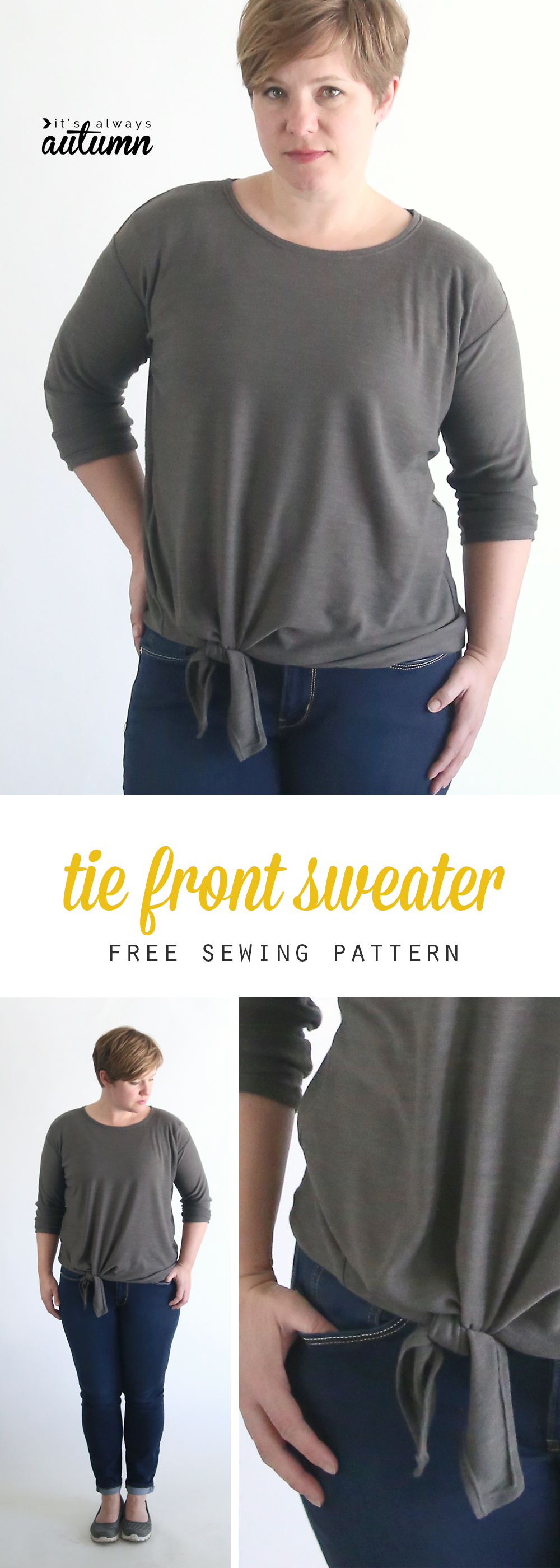 Click through for the free sewing pattern for this tie front slouchy sweater. Women's size L.
