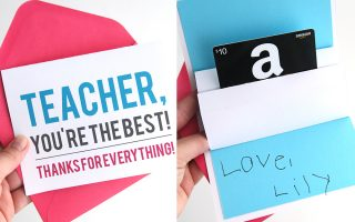 DIY teacher appreciation pop up gift card holder