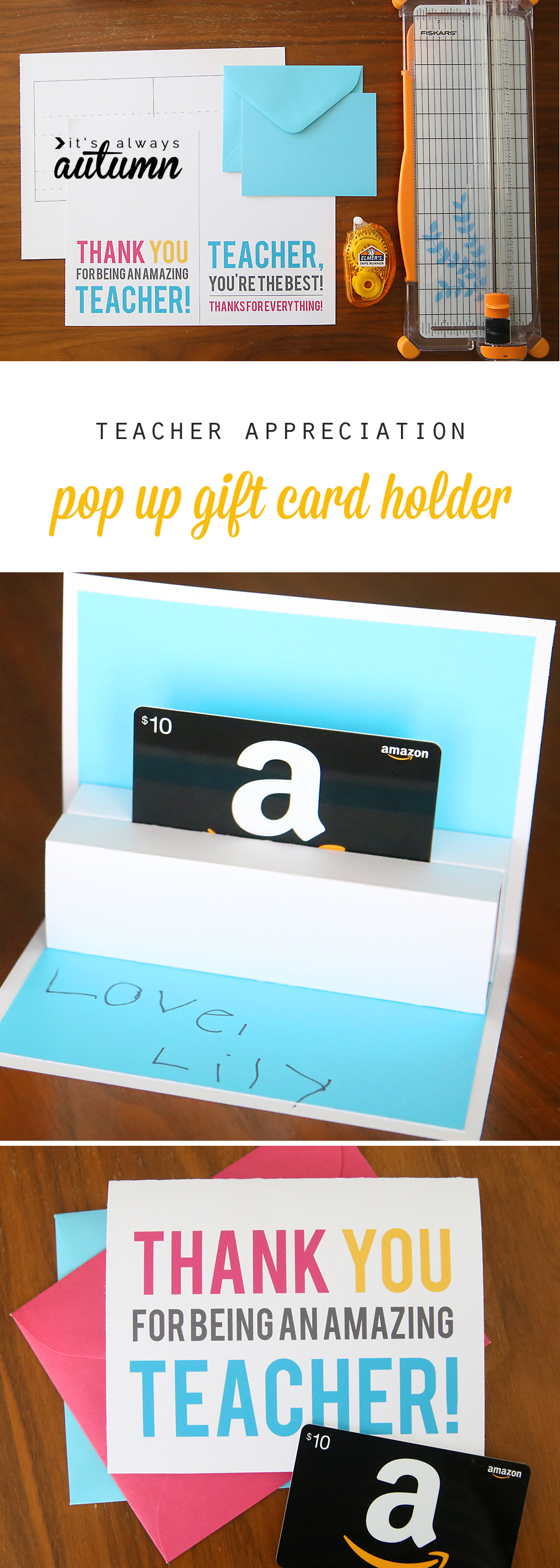 image regarding Free Printable Gift Card Holder Templates titled Do it yourself trainer appreciation pop up present card holder - Its