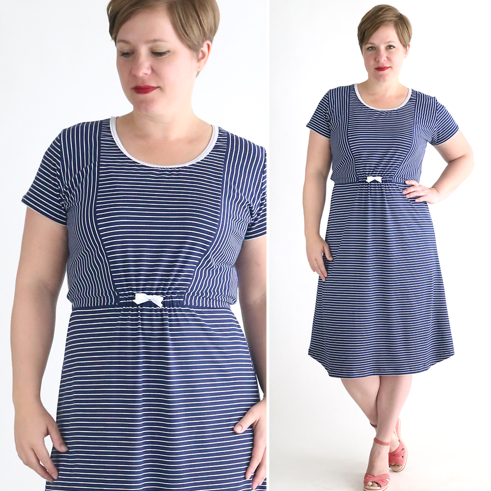 striped classic tee midi dress sewing tutorial
