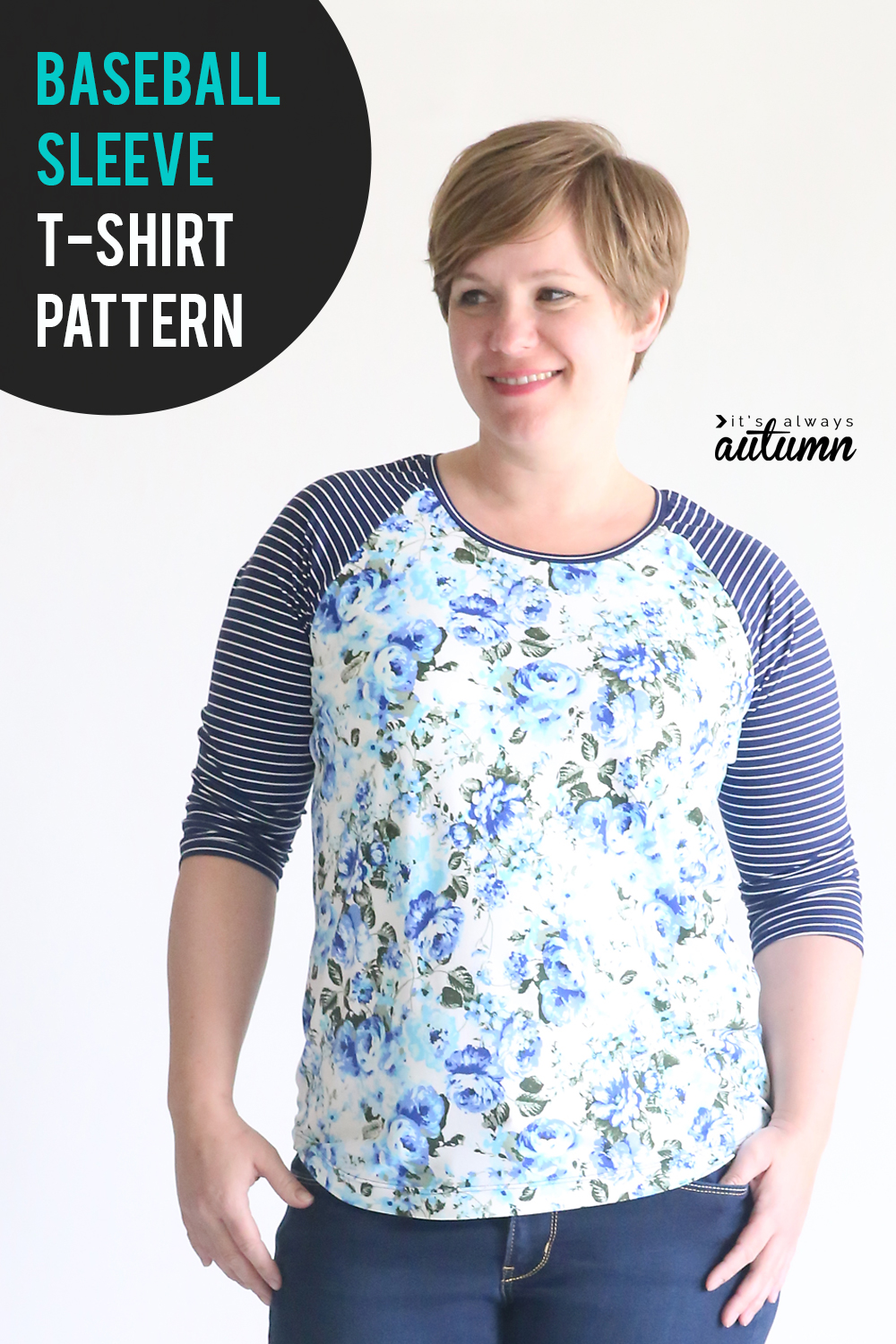 Cute free sewing pattern for this baseball sleeve t-shirt! Raglan tee sewing pattern.