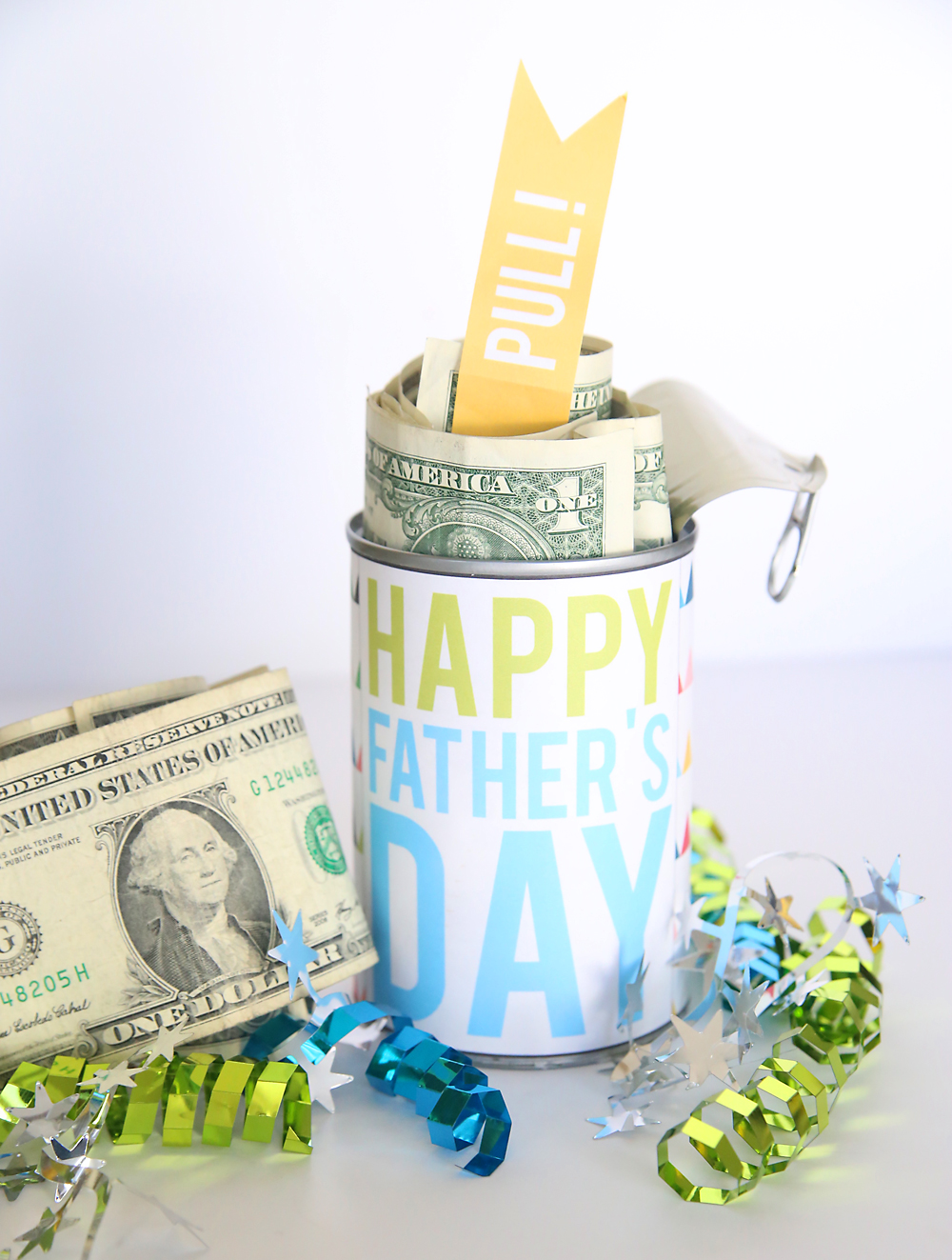 cash in a can gift for dads, grads, and birthdays - It's