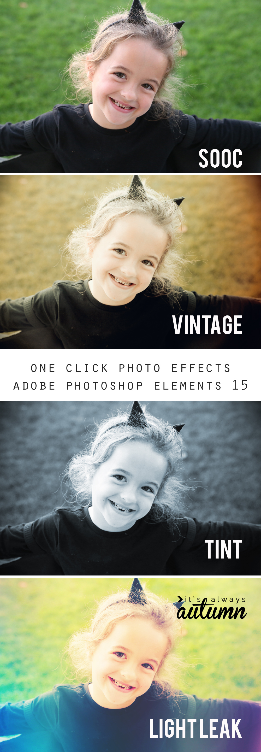 Learn how to add effects and filters to your photos with just one click using Adobe Photoshop Elements 15. Easy photo editing. Get the look of Instagram photos.