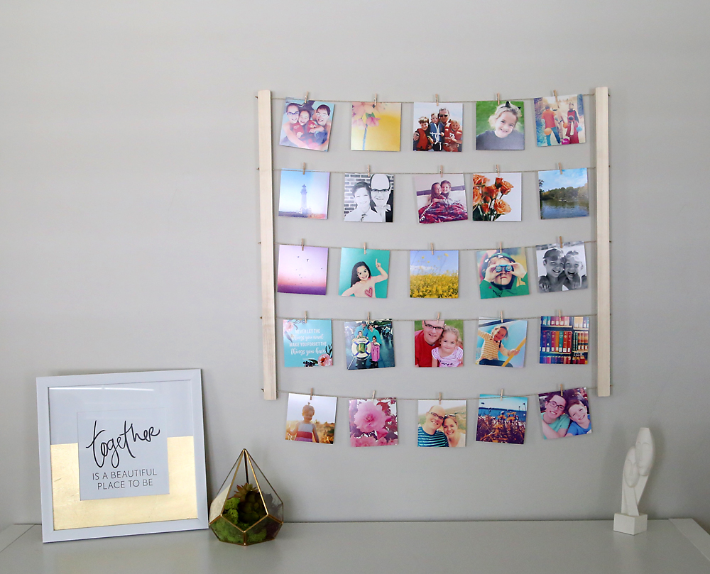 Learn how to build this easy an inexpensive photo display, perfect for instagram photos! Cheap DIY handmade gift or home decor.