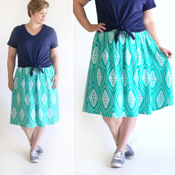 A woman wearing a gathered skirt made from a free sewing pattern