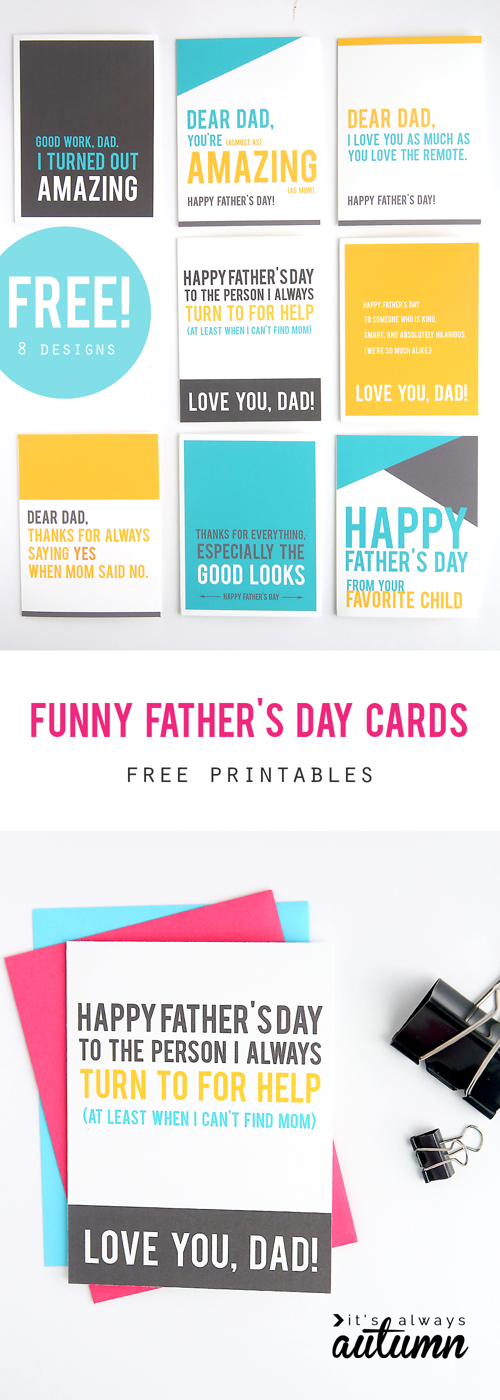 It is a picture of Sweet Free Printable Funny Father's Day Cards