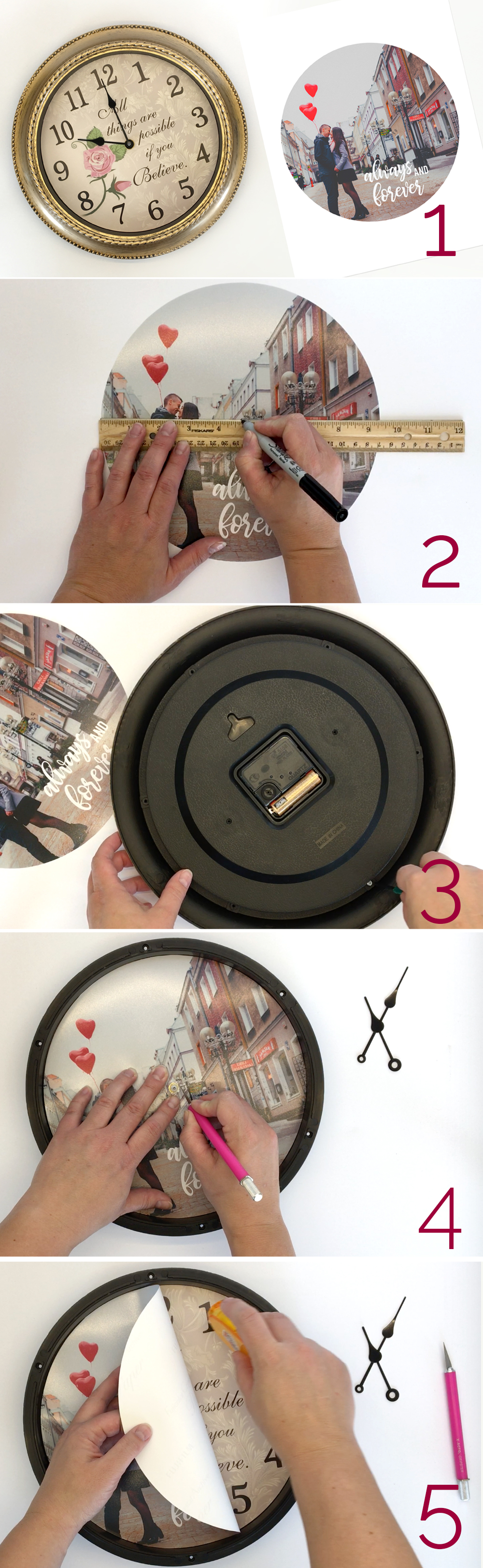 How to make a personalized photo clock. Great DIY gift idea for Mother's Day, Father's Day, weddings, anniversary, and more! Easy photo gift idea.