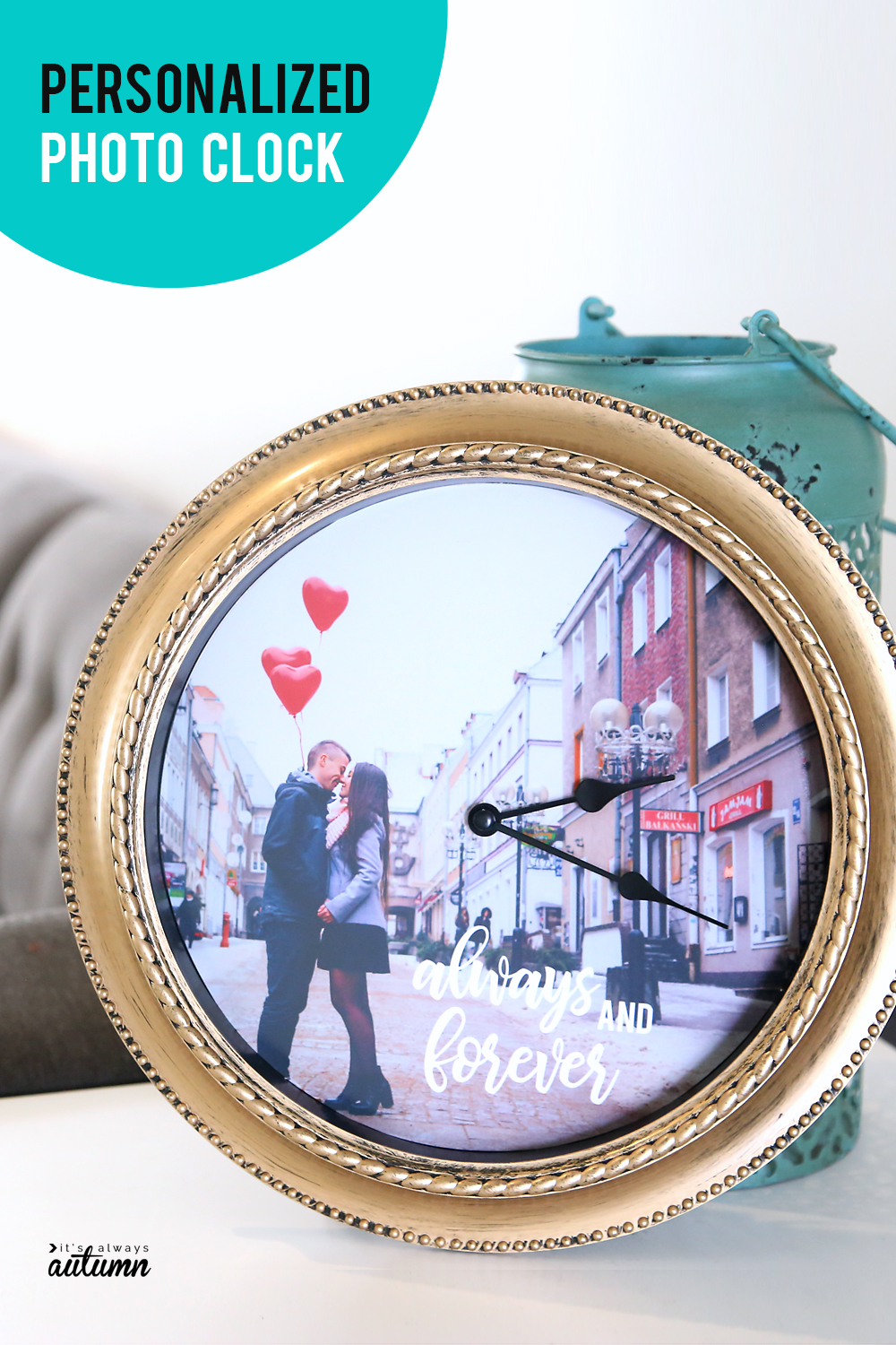 A personalized photo clock makes a great gift! DIY gift idea. Easy photo craft.